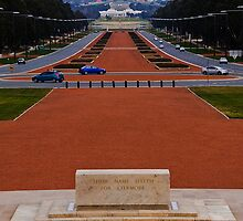 Canberra, Parliment House as viewd from the War Memorial by Jaxybelle