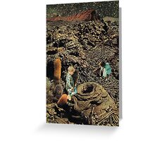 Looking for the lost toys, Vintage Collage Greeting Card