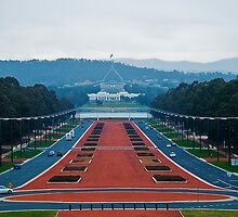 Canberra, Parliment House as seen from the War Memorial by Jaxybelle