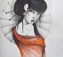 study for 'geisha with umbrella' by matthew  chapman