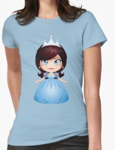 Princess With Black Hair In Blue Dress Womens Fitted T-Shirt