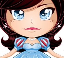 Princess With Black Hair In Blue Dress Sticker