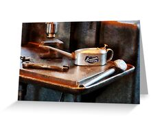 Oil Can and Wrench Greeting Card