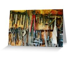 Wall of Tools With Shop Apron Greeting Card