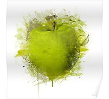 Green Apple Grunge Style Poster