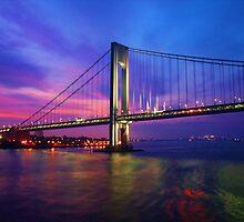 Verrazano Narrows Bridge Digital water color by Timothy Gass
