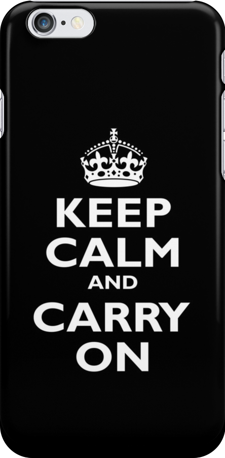 KEEP CALM, Keep Calm & Carry On, Be British! Blighty, UK, United Kingdom, white on black by TOM HILL - Designer