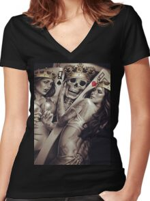 King and queens spades and hearts playing cards cartoon design Women's Fitted V-Neck T-Shirt