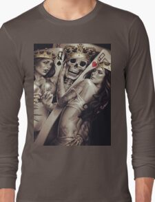 King and queens spades and hearts playing cards cartoon design Long Sleeve T-Shirt