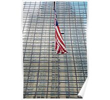 American Flag, Chrysler Building Reflection Poster