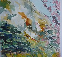 Granite Hill Zimbabwe with Cherry Trees in Blossom by Peter Johnson