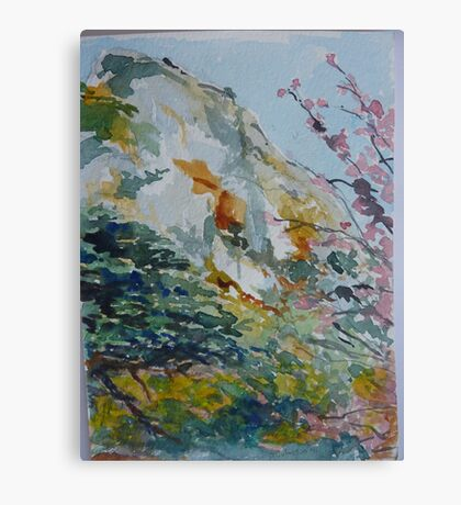 Granite Hill Zimbabwe with Cherry Trees in Blossom Canvas Print