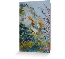 Granite Hill Zimbabwe with Cherry Trees in Blossom Greeting Card