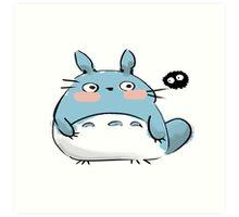 Chibi Totoro and a Soot Art Print