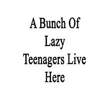 A Bunch Of Lazy Teenagers Live Here Photographic Print