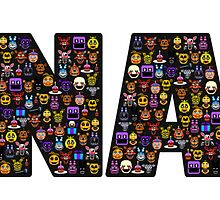Five Nights at Freddy's - Pixel art - FNAF typography (Black BG) by GEEKsomniac