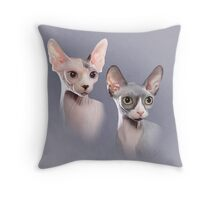 Sphynx Cats - Painting Throw Pillow