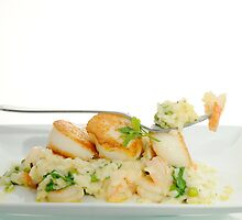 seared scallops with tiger prawns & couscous by jon  daly