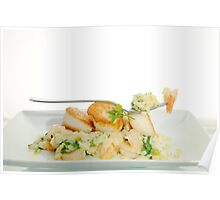 seared scallops with tiger prawns & couscous Poster