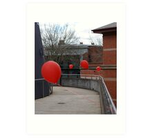 Red balloons showing the way Art Print
