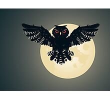 Owl and Full Moon 2 Photographic Print