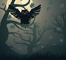 Owl in the Night Forest 2 by AnnArtshock