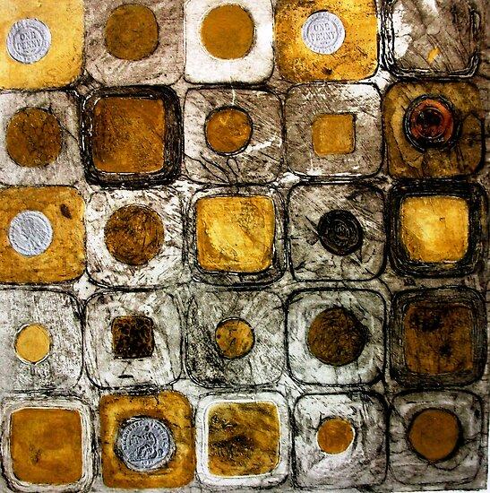 "Golden Coins - Etching by Belinda ""BillyLee"" NYE (Printmaker)"