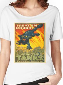 Join the Tanks Corps ~ War Recruiting Poster ~ Black Cat Army Tank ~ 0592 Women's Relaxed Fit T-Shirt