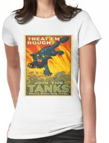 Join the Tanks Corps ~ War Recruiting Poster ~ Black Cat Army Tank ~ 0592 Womens Fitted T-Shirt