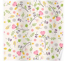 Tender flowers pattern Poster
