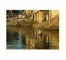 Bathing in the Ganges Art Print