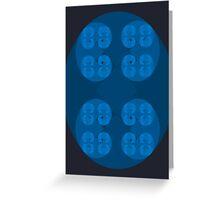 Golden Spiral Fractal Pattern - Blue Greeting Card