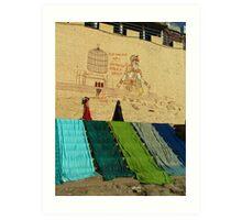 Drying Saris on Varanasi Ghats Art Print