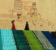 Drying Saris on Varanasi Ghats by SerenaB