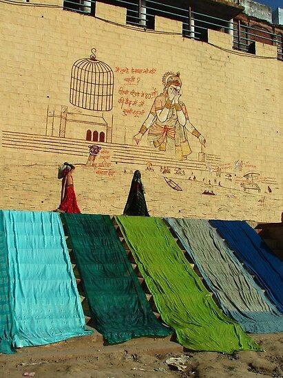 Drying Saris on Varanasi Ghats by SerenaB