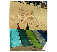 Drying Saris on Varanasi Ghats Poster