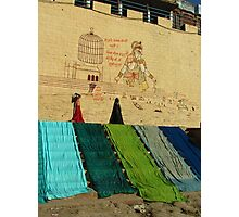Drying Saris on Varanasi Ghats Photographic Print