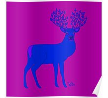 Arrow Antlers Blue on Purple Background Poster