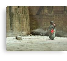 Scattering Lime on the Steps Metal Print