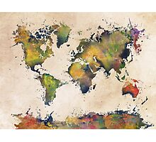 World Map green splash Photographic Print