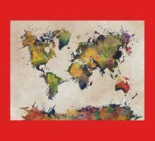 World Map green splash One Piece - Long Sleeve