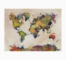 World Map green splash Kids Tee