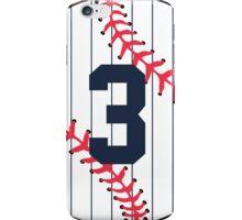 Number 3 Pinstripe Baseball Design iPhone Case/Skin