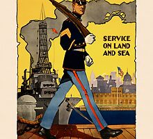 U.S. MARINES ~ Service on Land and Sea ~ Patriotic Recruiting War Poster ~ 0582 by ContrastStudios