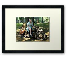 WW2 Indian motorcycle pinup Framed Print