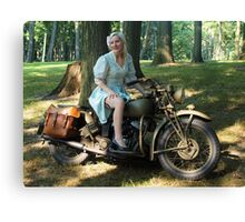 WW2 Indian motorcycle pinup Canvas Print