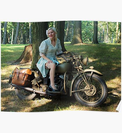 WW2 Indian motorcycle pinup Poster