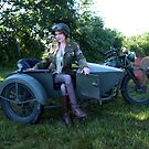 Indian Motorcycle with Side car with Dori Jean by LibertyCalendar