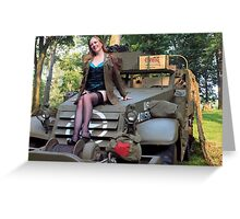 A redhead pinup on a WWII White Halftrack Greeting Card