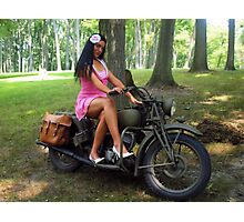 Ashley on a WWII Indian motorcycle Photographic Print